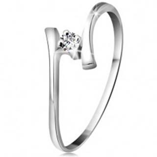 Zlatý prsteň 585 - žiarivý číry briliant, tenké zahnuté ramená, biele zlato - Veľkosť: 49 mm