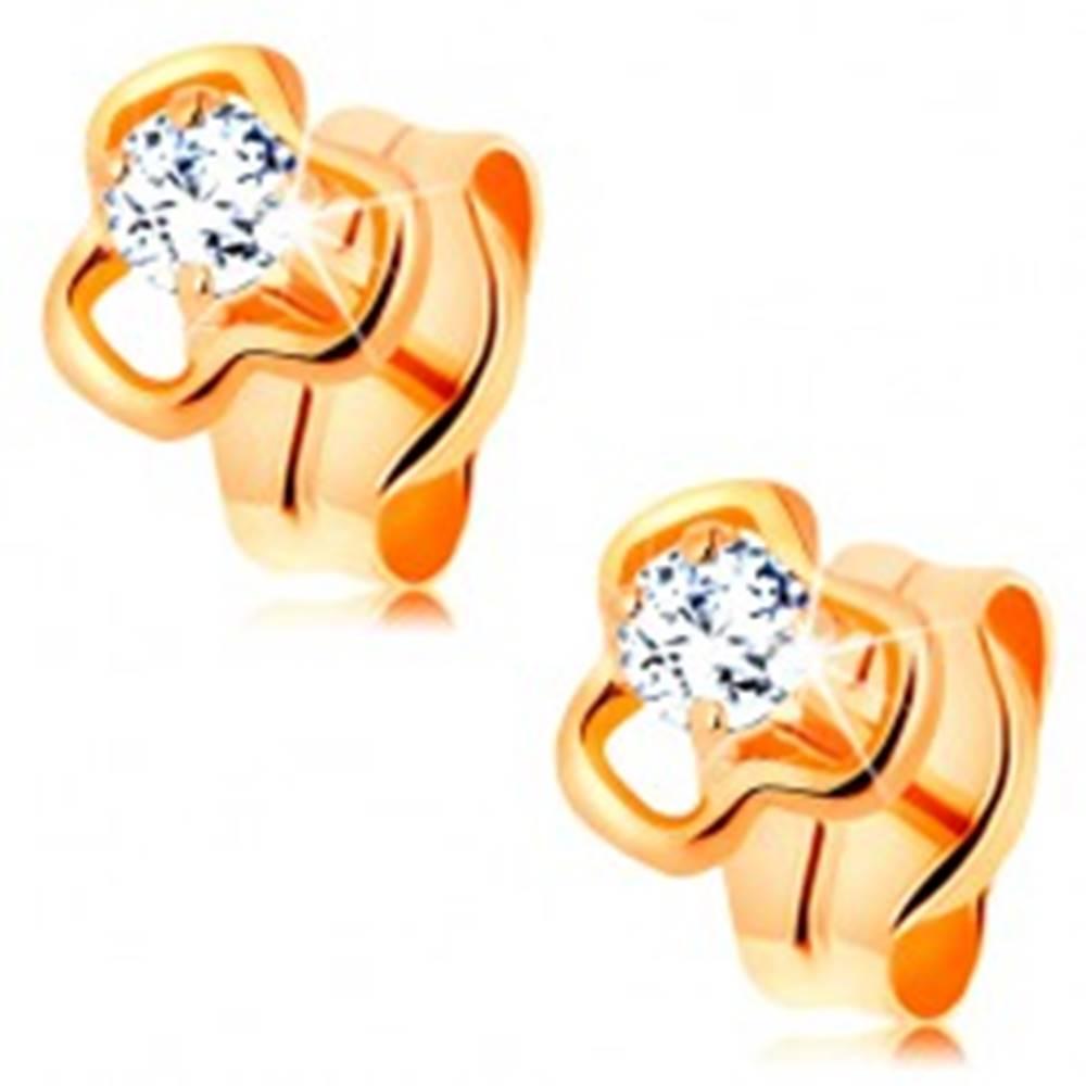 Šperky eshop Diamantové náušnice zo žltého 14K zlata - okrúhly číry briliant v kontúre trojlístka