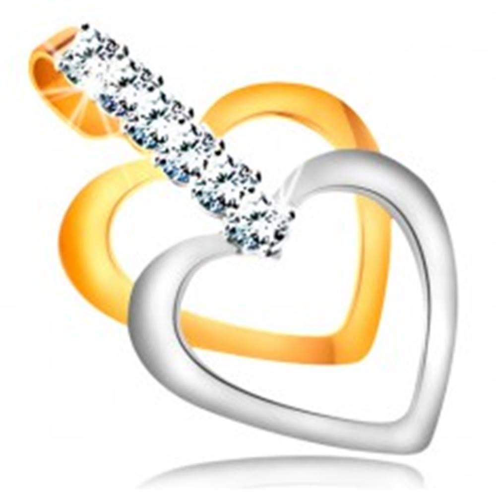 Šperky eshop Dvojfarebný prívesok v 14K zlate - úzke kontúry súmerných sŕdc, pás čírych zirkónov