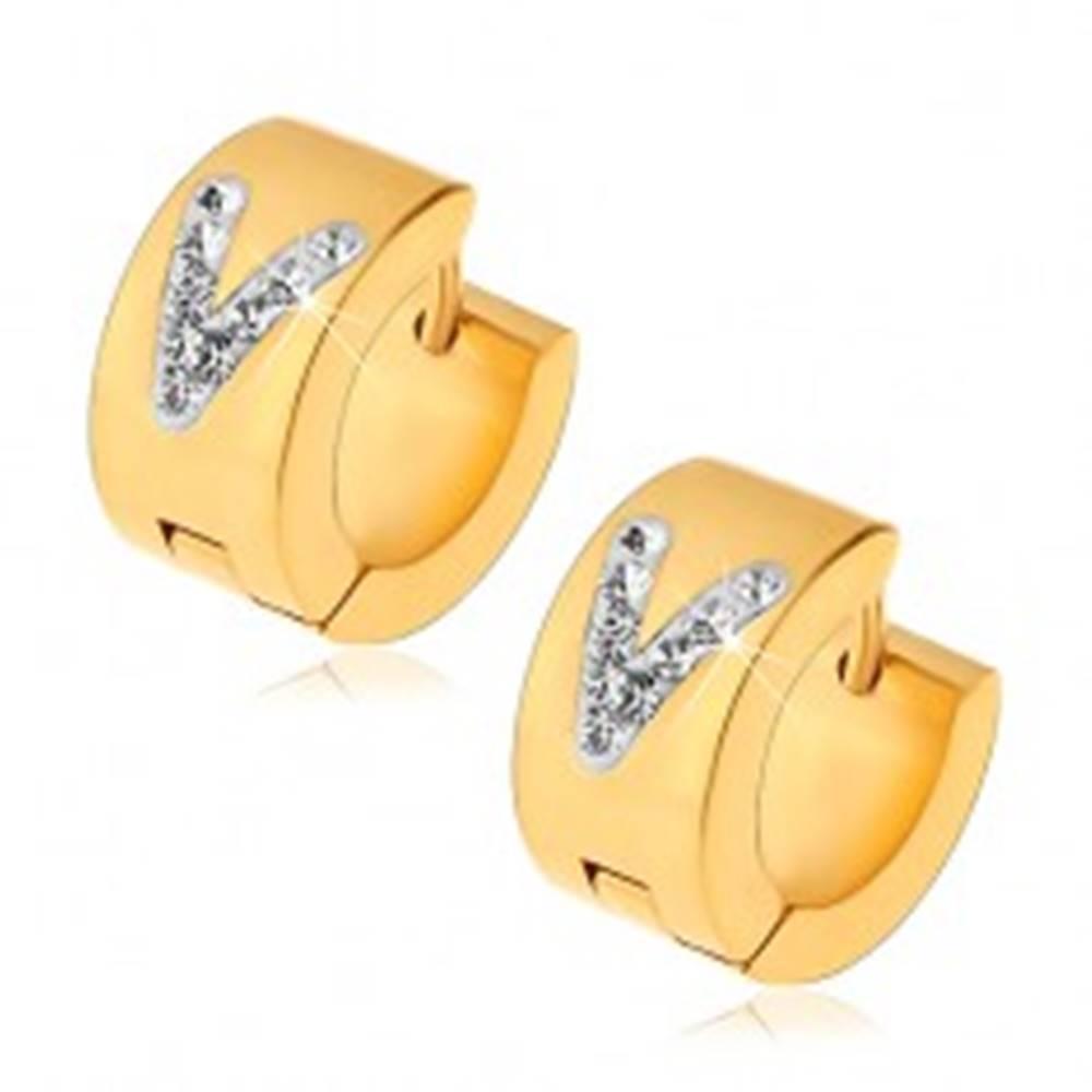 Šperky eshop Kĺbové oceľové náušnice,  zlatý odtieň, číre zirkónové písmeno V