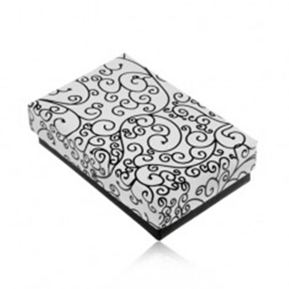 Šperky eshop Krabička na set alebo náhrdelník v čierno-bielom prevedení, potlač ornamentov