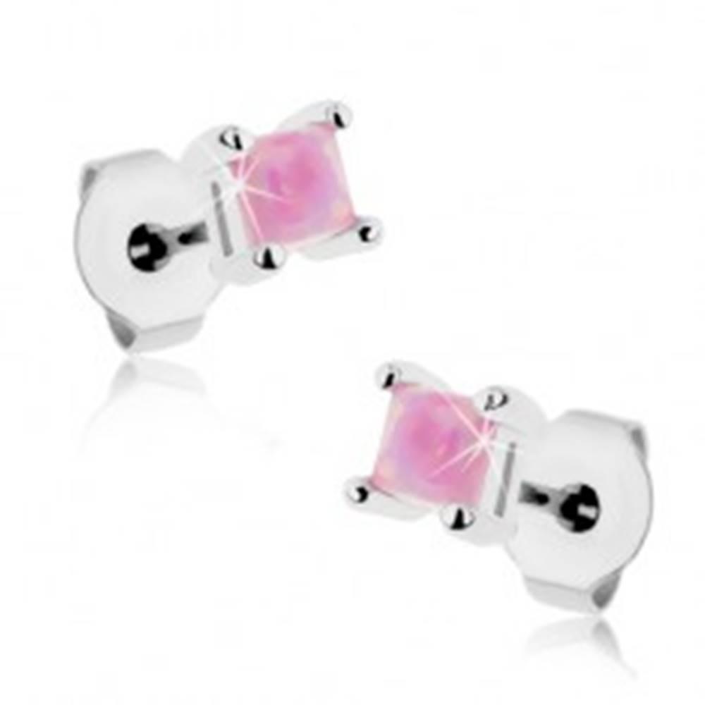 Šperky eshop Lesklé oceľové náušnice, ružový syntetický opál - štvorček, 3 mm