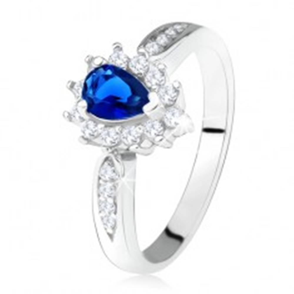 Šperky eshop Lesklý prsteň - striebro 925, tmavomodrý zirkón - slza, číre kamienky - Veľkosť: 49 mm