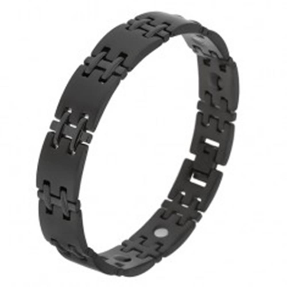 Šperky eshop Matný čierny náramok z chirurgickej ocele, lesklé H spoje, magnety