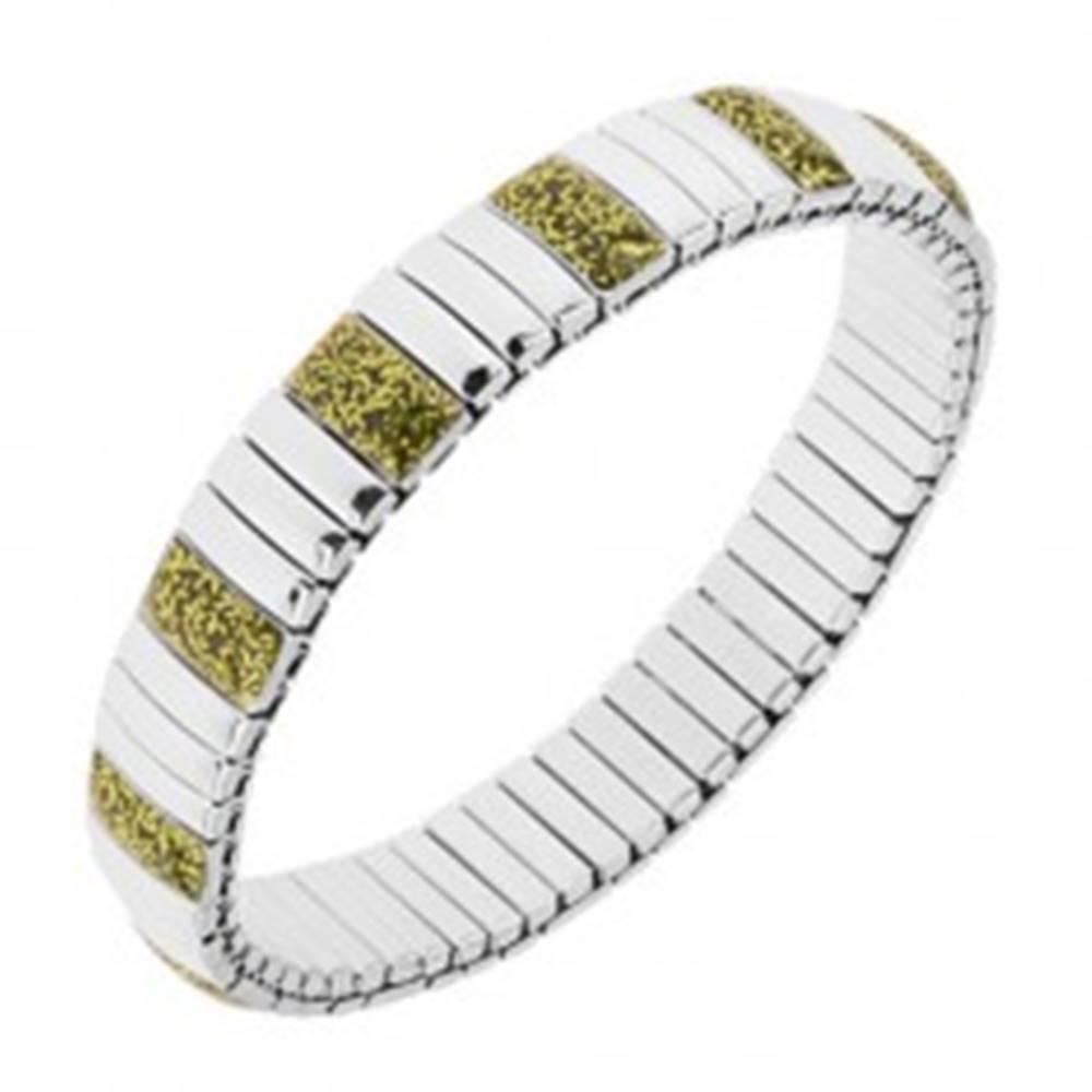 Šperky eshop Náramok z ocele, obdĺžnikové články striebornej a svetlozelenej farby, strečový