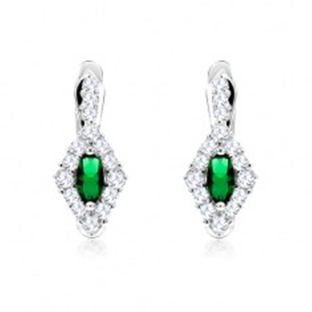 Šperky eshop Náušnice s čírym kosoštvorcom a zeleným oválnym zirkónom, striebro 925