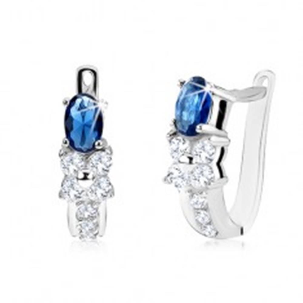 Šperky eshop Náušnice s oválnym modrým kameňom, číry zirkónový kvet, striebro 925