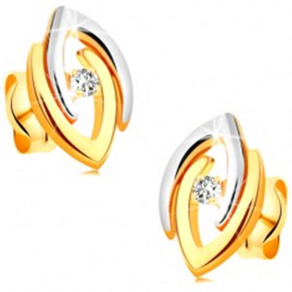 Šperky eshop Náušnice v 14K zlate - spojené dvojfarebné podkovy a číry žiarivý briliant