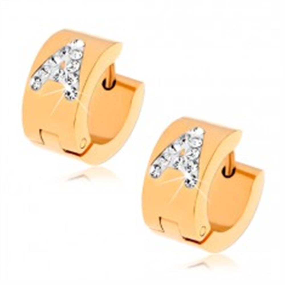 Šperky eshop Náušnice z chirurgickej ocele zlatej farby, písmeno A vykladané čírymi zirkónmi