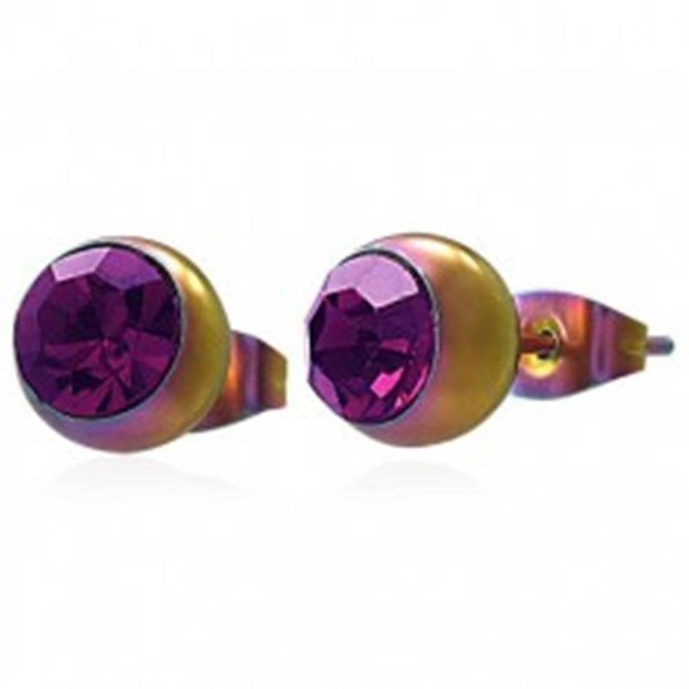 Šperky eshop Náušnice z ocele 316L, dúhové guličky s ružovofialovým zirkónom