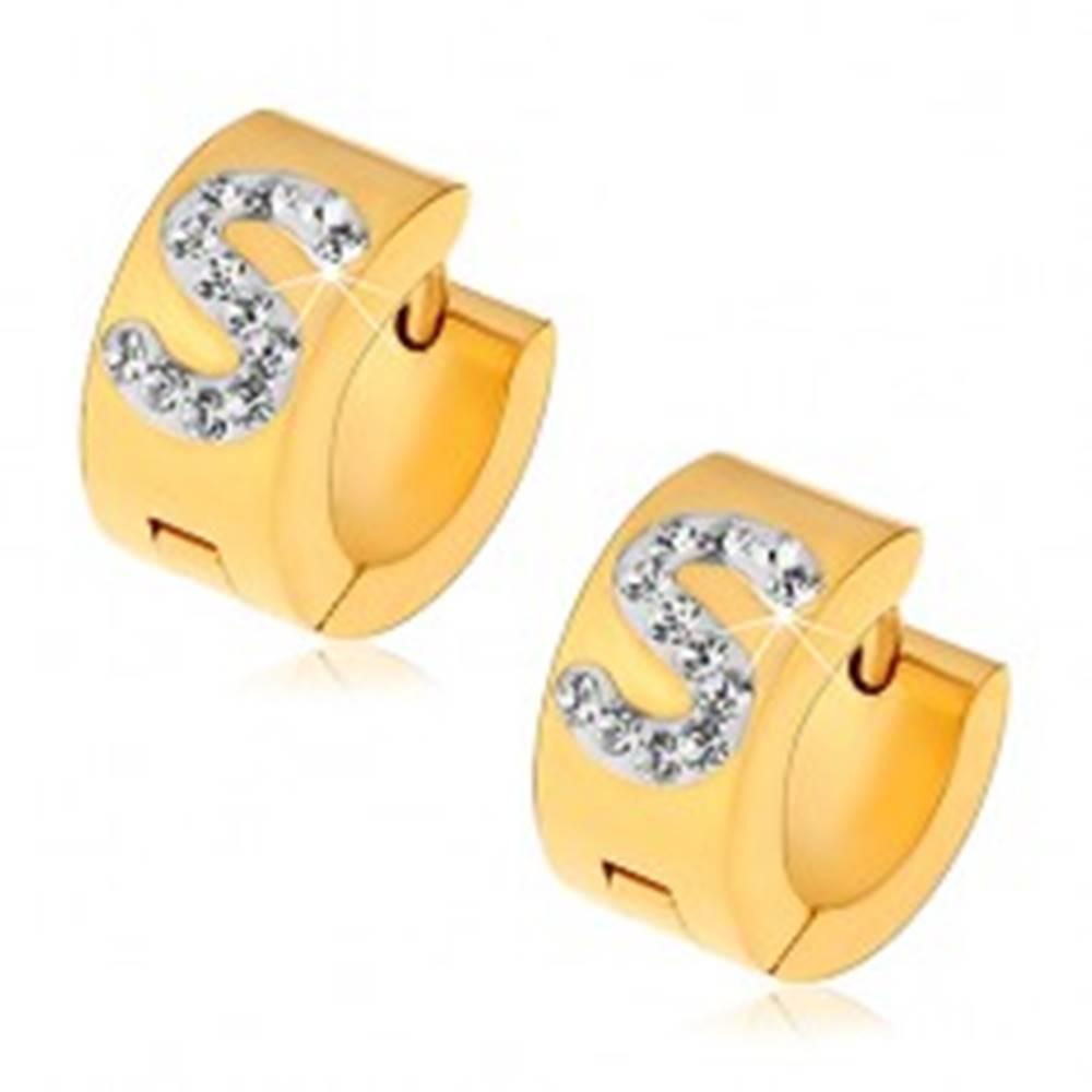 Šperky eshop Náušnice z ocele 316L zlatej farby, biele písmeno S zdobené čírymi zirkónikmi