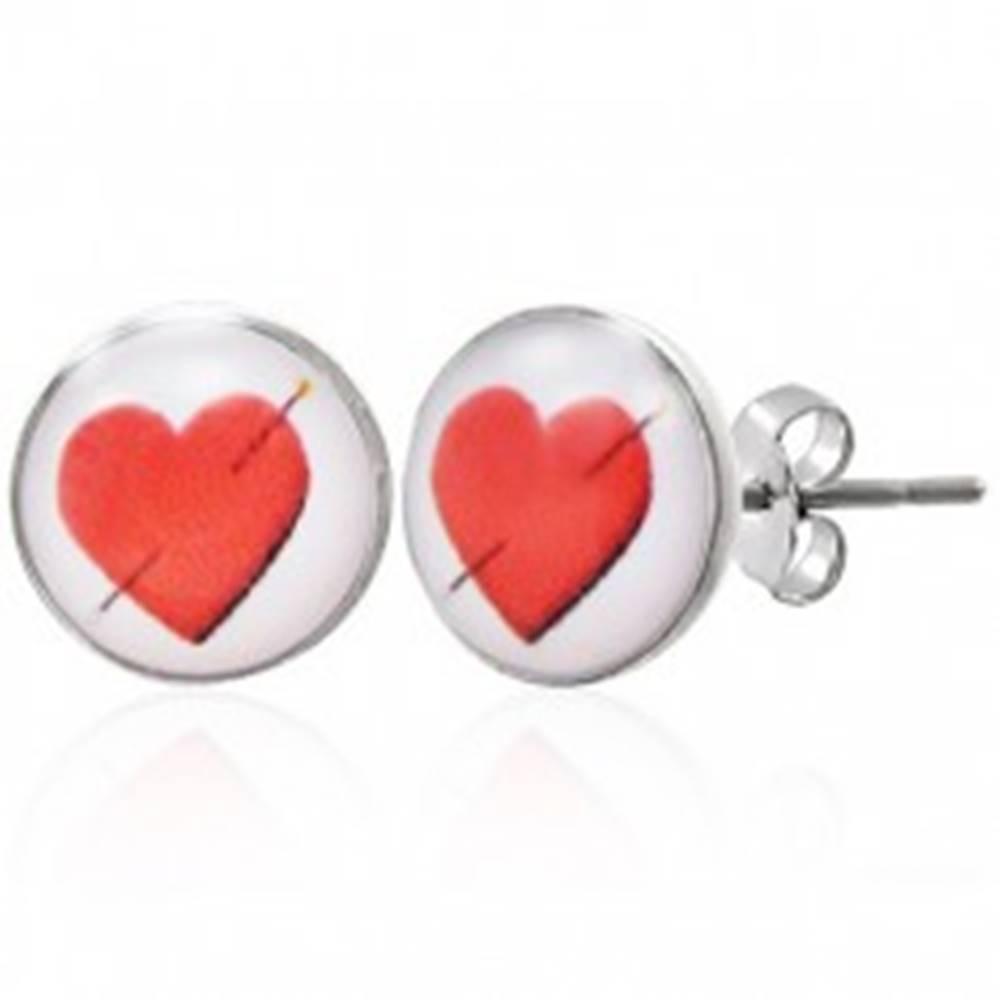 Šperky eshop Náušnice z ocele s prepichnutým srdcom