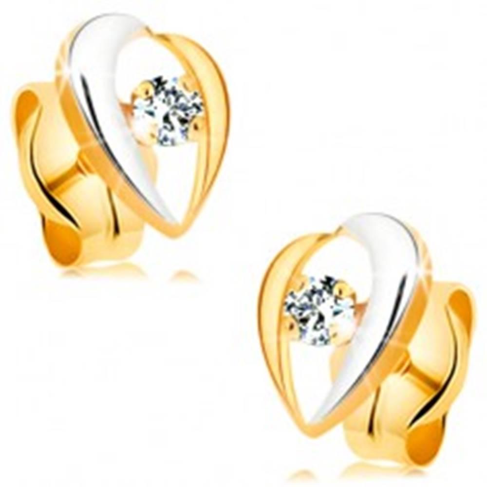 Šperky eshop Náušnice zo 14K zlata - zahnuté línie lemujúce číry diamant, dvojfarebné