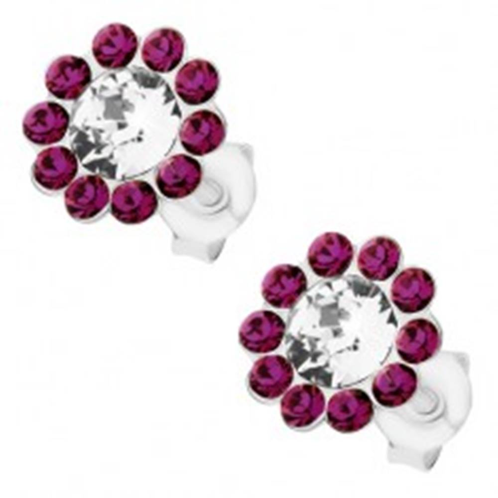 Šperky eshop Náušnice zo striebra 925, ligotavý kvietok, číre a fialové Preciosa krištále