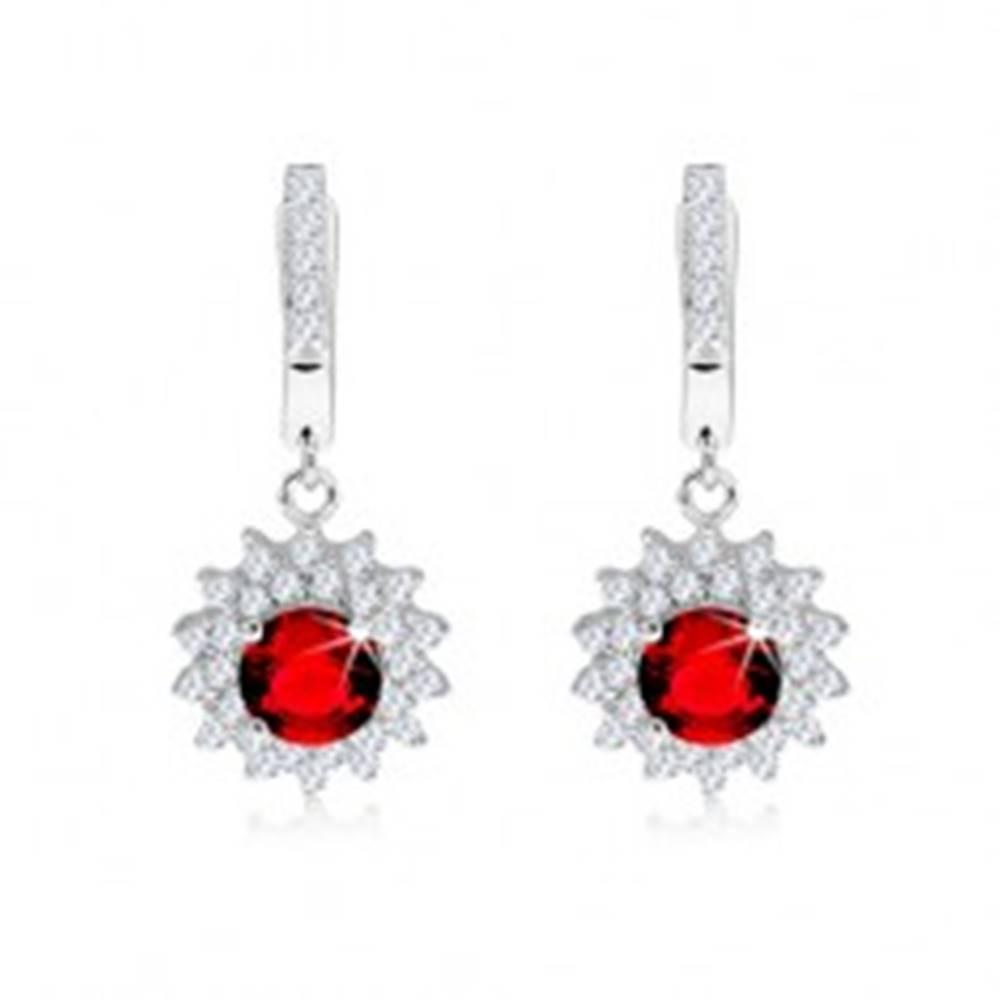 Šperky eshop Náušnice zo striebra 925, okrúhly červenoružový kameň s čírym lemom, slnko