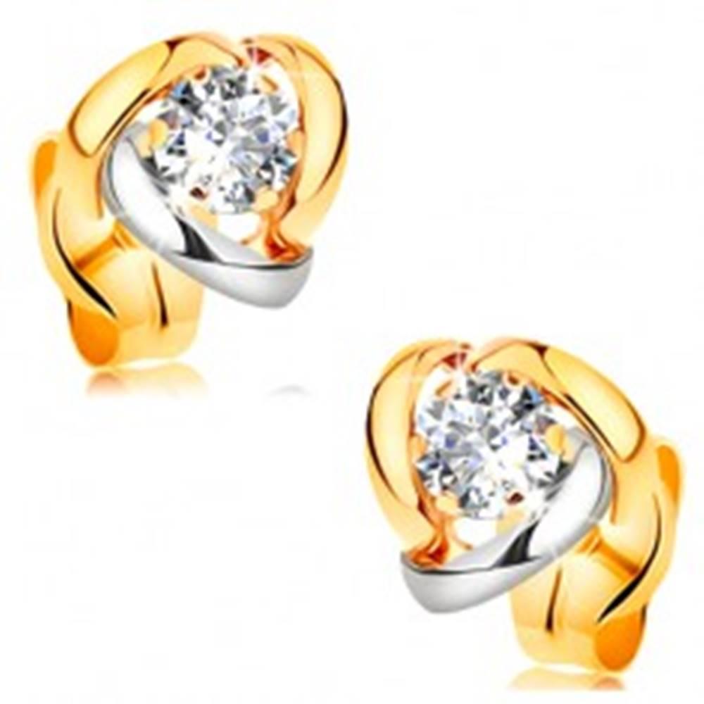 Šperky eshop Náušnice zo žltého 14K zlata - dvojfarebné oblúky lemujúce číry zirkón