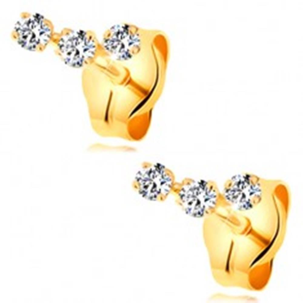 Šperky eshop Náušnice zo žltého 14K zlata - oblúčik z troch drobných čírych zirkónov