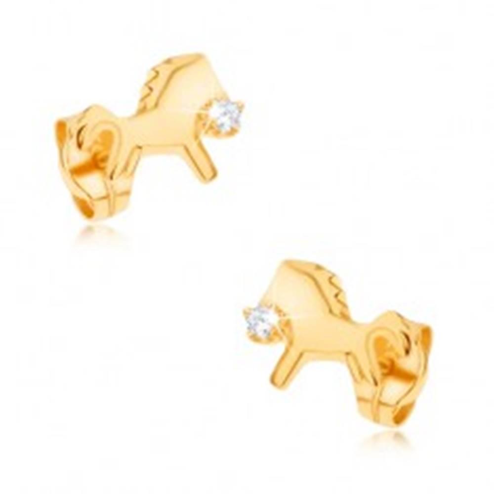 Šperky eshop Náušnice zo žltého 9K zlata - ligotavý cválajúci koník s čírym zirkónom