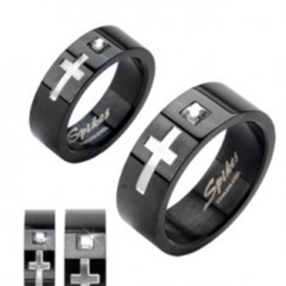 Šperky eshop Obrúčka z chirurgickej ocele čierna, kríž a veľký zirkón - Veľkosť: 49 mm