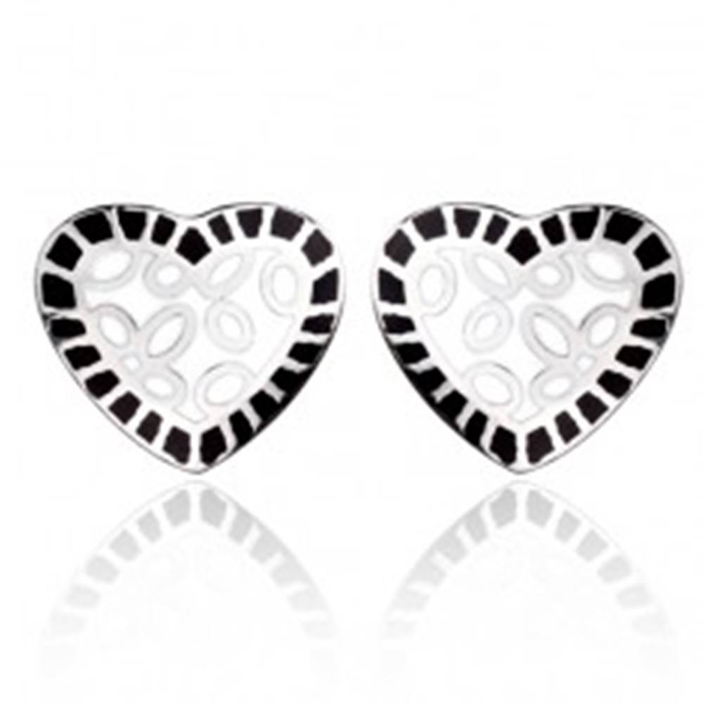 Šperky eshop Oceľové náušnice - biele srdce s čiernym lemom