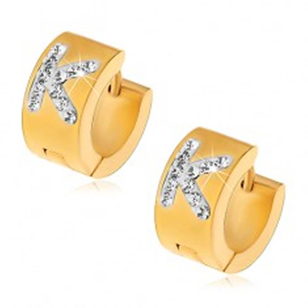 Šperky eshop Oceľové náušnice s kĺbovým zapínaním, zlatý odtieň, číre zirkónové písmeno K