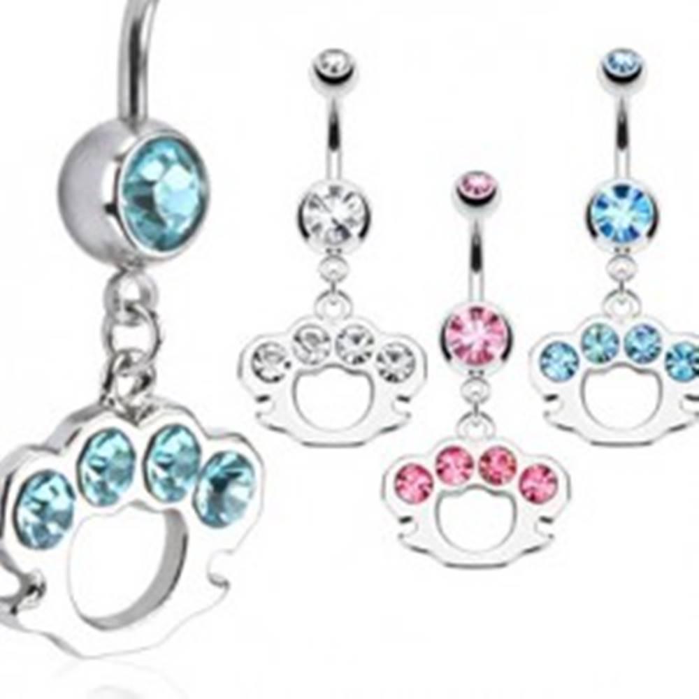 Šperky eshop Oceľový piercing do pupku - zdobený boxer - Farba zirkónu: Aqua modrá - Q
