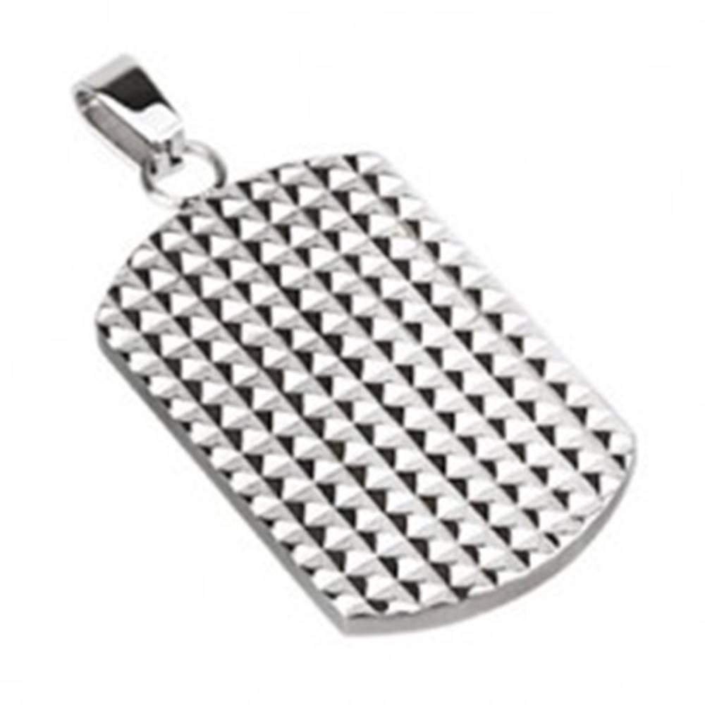 Šperky eshop Oceľový prívesok - lesklá tabuľka s malými hrotmi