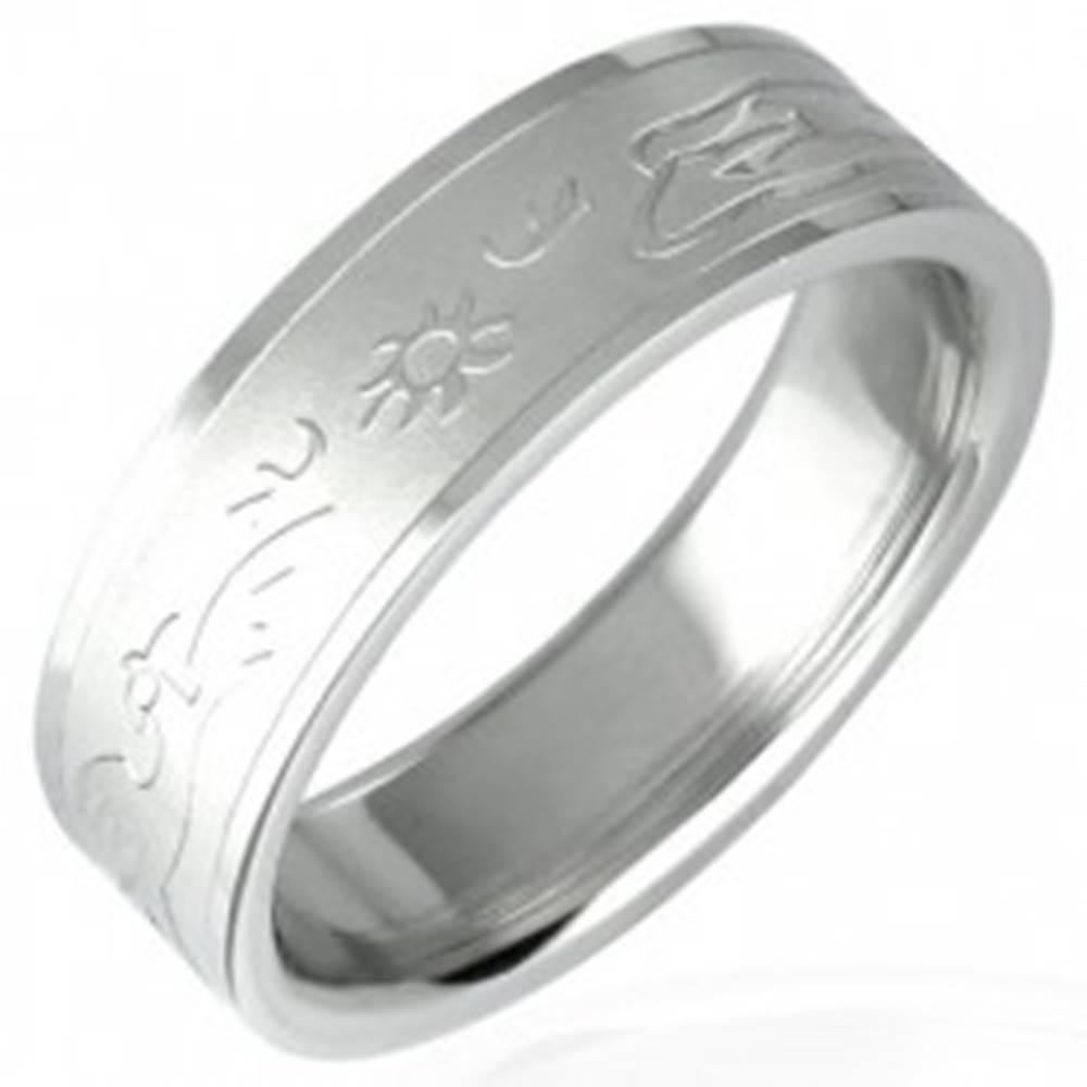 Šperky eshop Oceľový prsteň so vzorom zapadajúceho slnka - Veľkosť: 51 mm