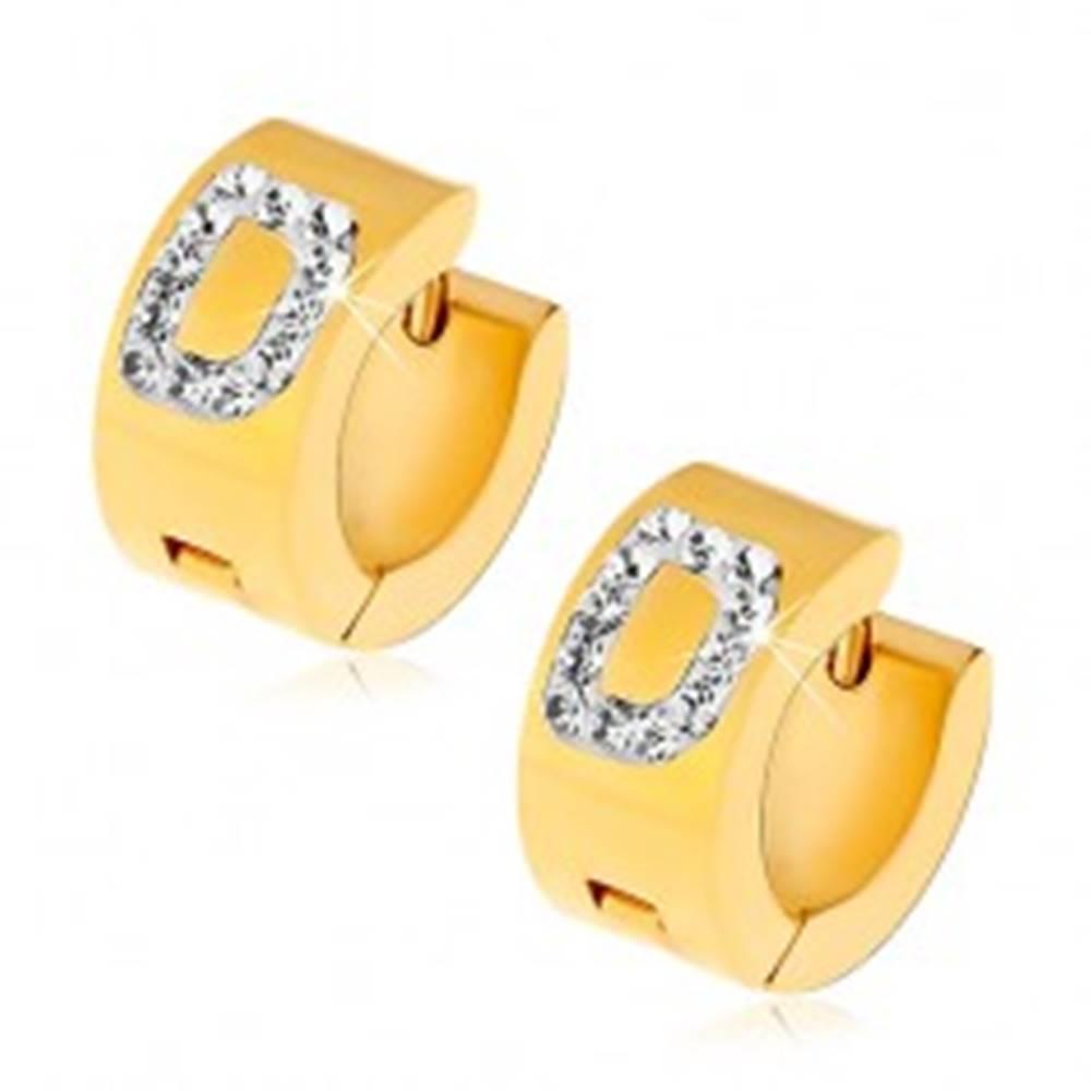Šperky eshop Okrúhle náušnice z ocele 316L zlatej farby, písmeno D s čírymi zirkónmi