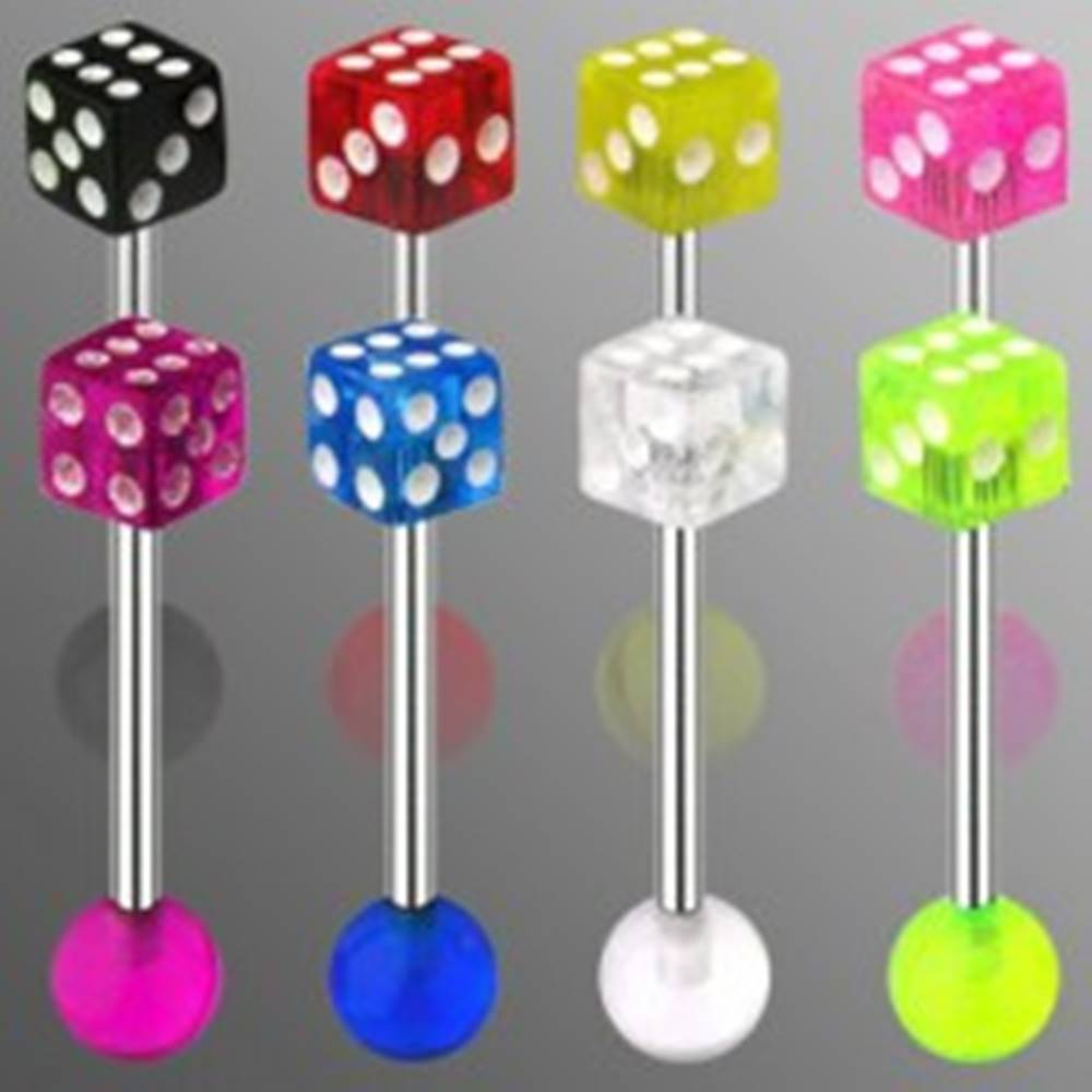 Šperky eshop Piercing do jazyka z ocele - hracia kocka s bodkami bielej farby - Farba zirkónu: Červená - R