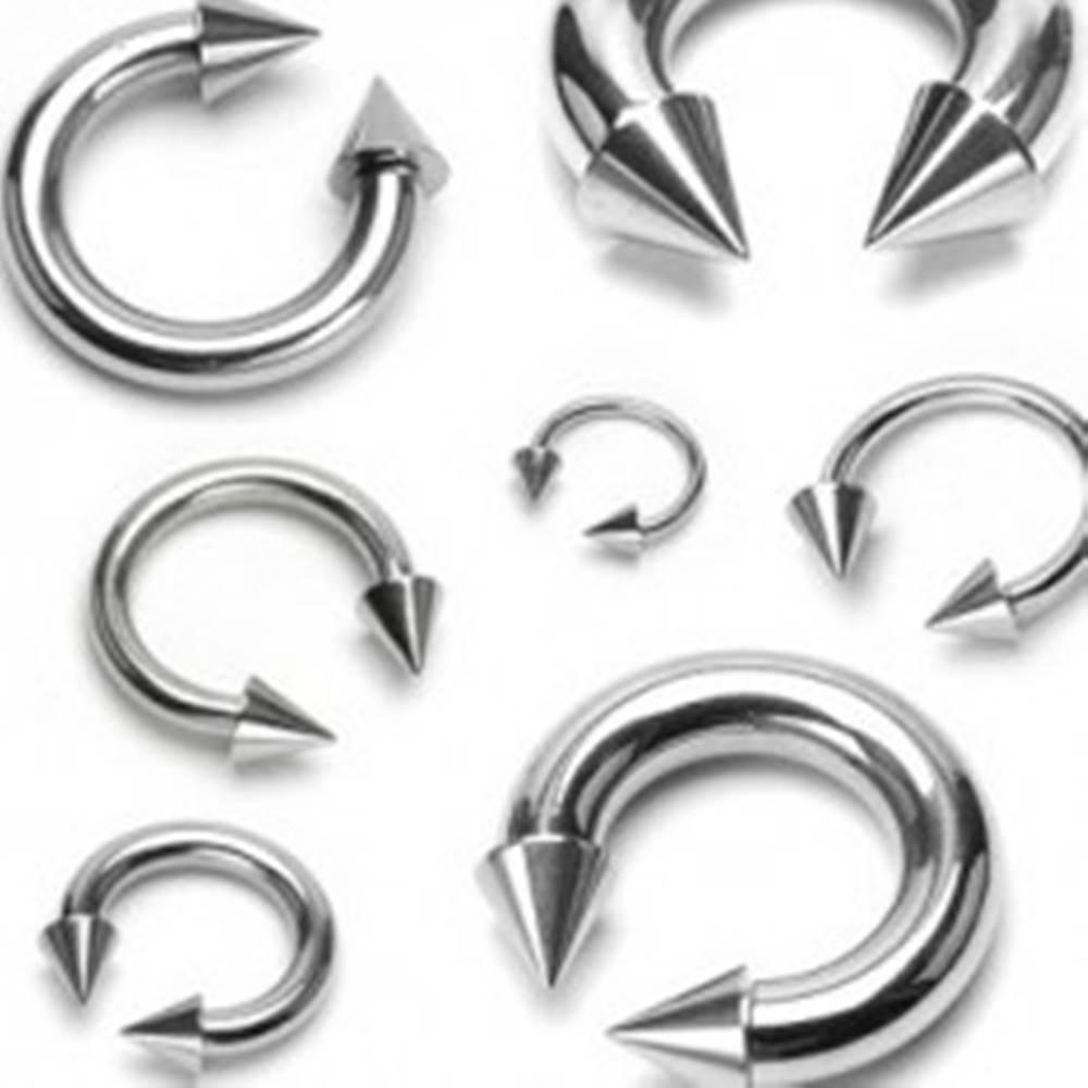 Šperky eshop Piercing striebornej farby z chirurgickej ocele - podkova ukončená hrotmi, rôzne veľkosti - Rozmer: 1,2 mm x 10 mm x 4x4 mm
