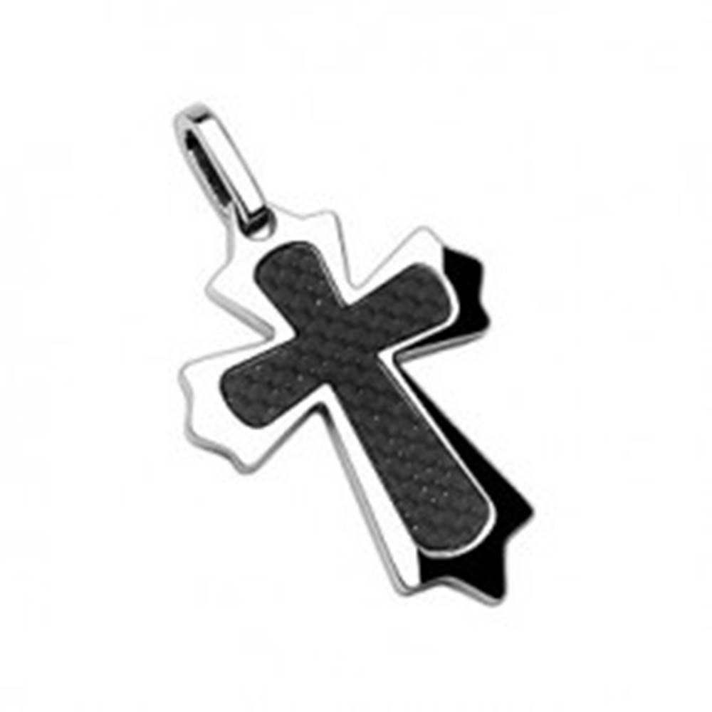 Šperky eshop Prívesok z chirurgickej ocele kríž s vláknami a ostrými hranami