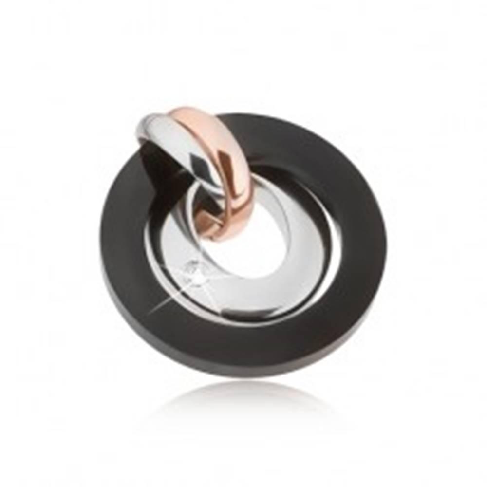 Šperky eshop Prívesok z ocele - strieborná, medená a čierna farba, kruhy, ovál so zirkónom
