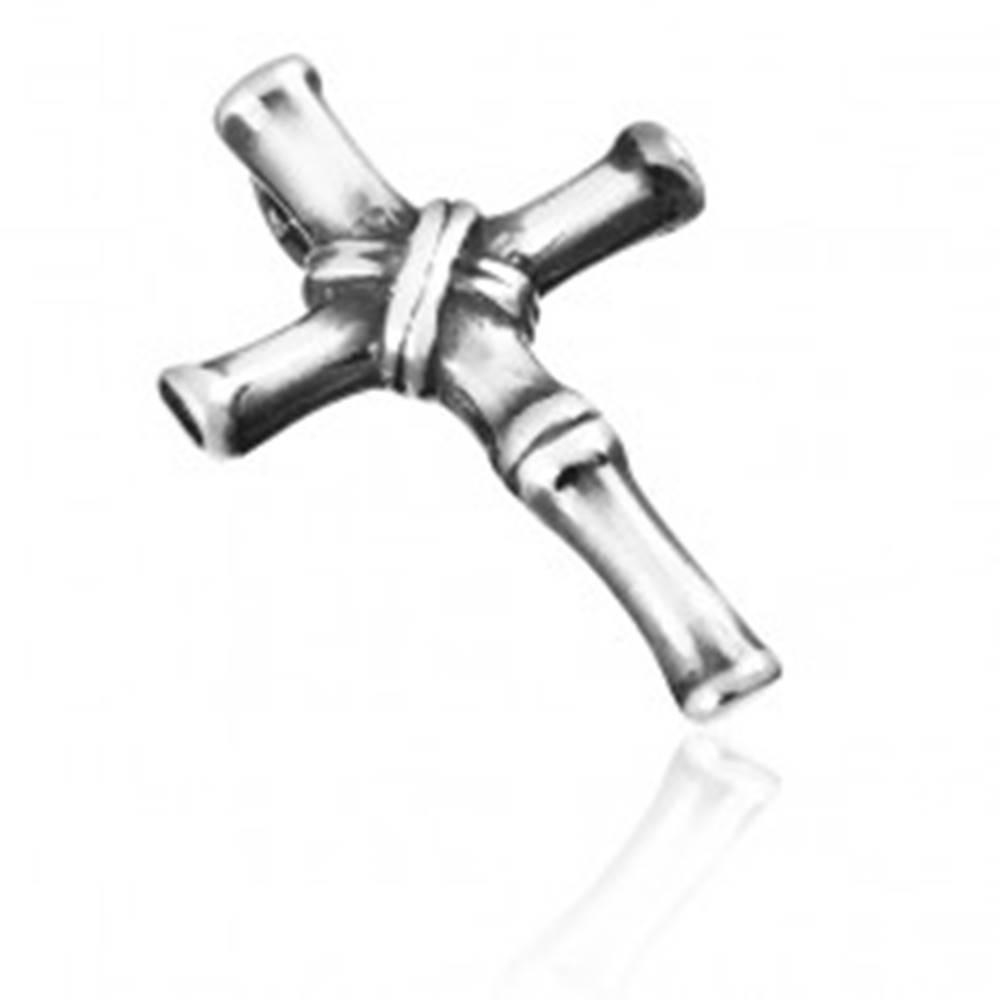 Šperky eshop Prívesok zo striebra 925 - článkovaný starožitný krížik s patinou