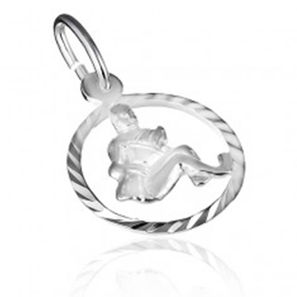 """Šperky eshop Prívesok zo striebra 925 - lesklý kruh a znamenie """"vodnár"""""""