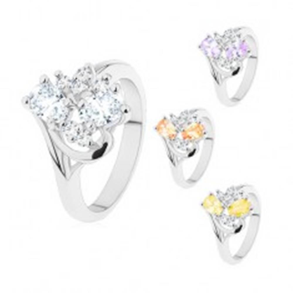 Šperky eshop Prsteň s jemne zahnutými ramenami, brúsené ovály a číre zirkóniky - Veľkosť: 50 mm, Farba: Číra