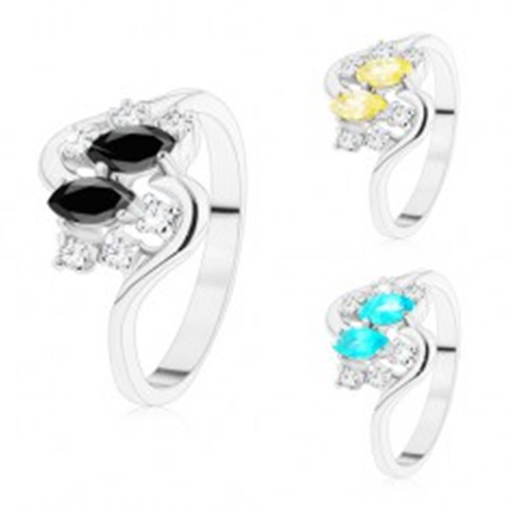 Šperky eshop Prsteň so zvlnenými ramenami, strieborný odtieň, farebné zrnká a číre zirkóny - Veľkosť: 50 mm, Farba: Aqua modrá