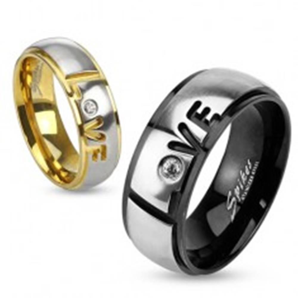 Šperky eshop Prsteň z ocele 316L, čierna a strieborná farba, nápis Love, číry zirkón, 8 mm - Veľkosť: 59 mm