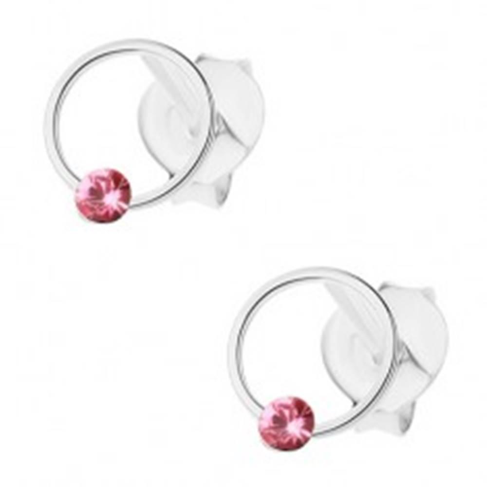 Šperky eshop Puzetové náušnice, striebro 925, tenký krúžok s ružovým krištálikom Swarovski