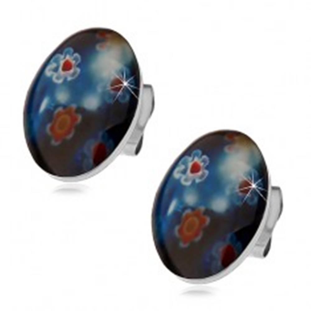Šperky eshop Puzetové oceľové náušnice, modrý ovál s farebnými kvetmi