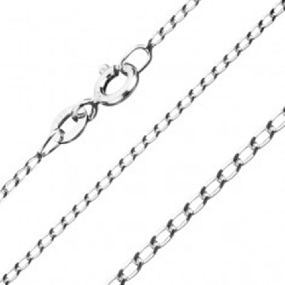 Šperky eshop Strieborná retiazka 925 - hladké podlhovasté očká, 1,2 mm