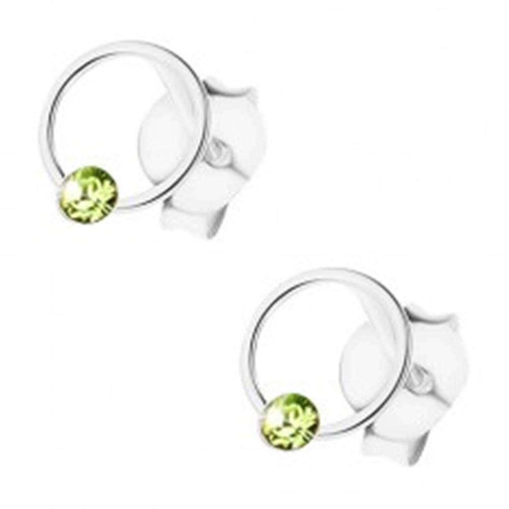 Šperky eshop Strieborné 925 náušnice, puzetky, krúžok, svetlozelený krištálik Swarovski