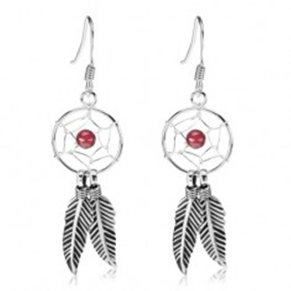 Šperky eshop Strieborné náušnice 925, okrúhly lapač snov, červená korálka, pierka, 12 mm