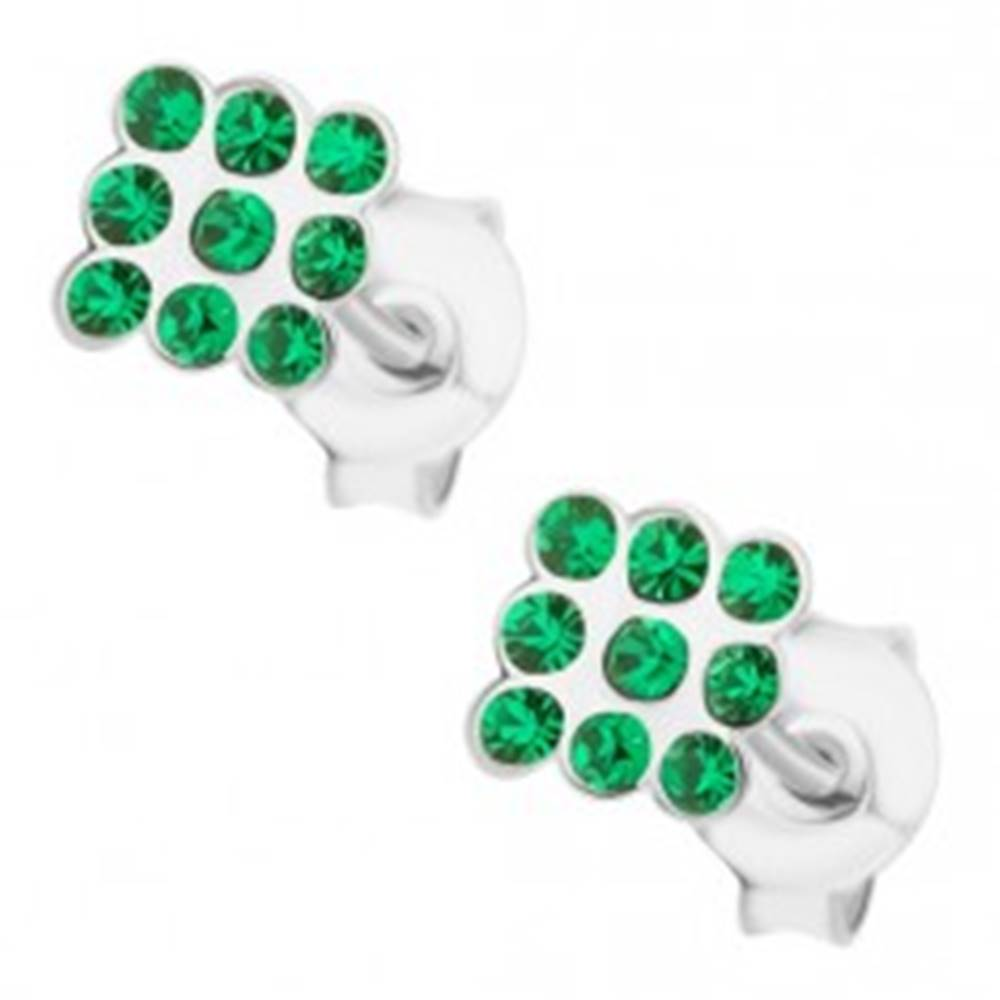 Šperky eshop Strieborné náušnice 925, štvorec vykladaný zelenými krištálikmi Swarovski