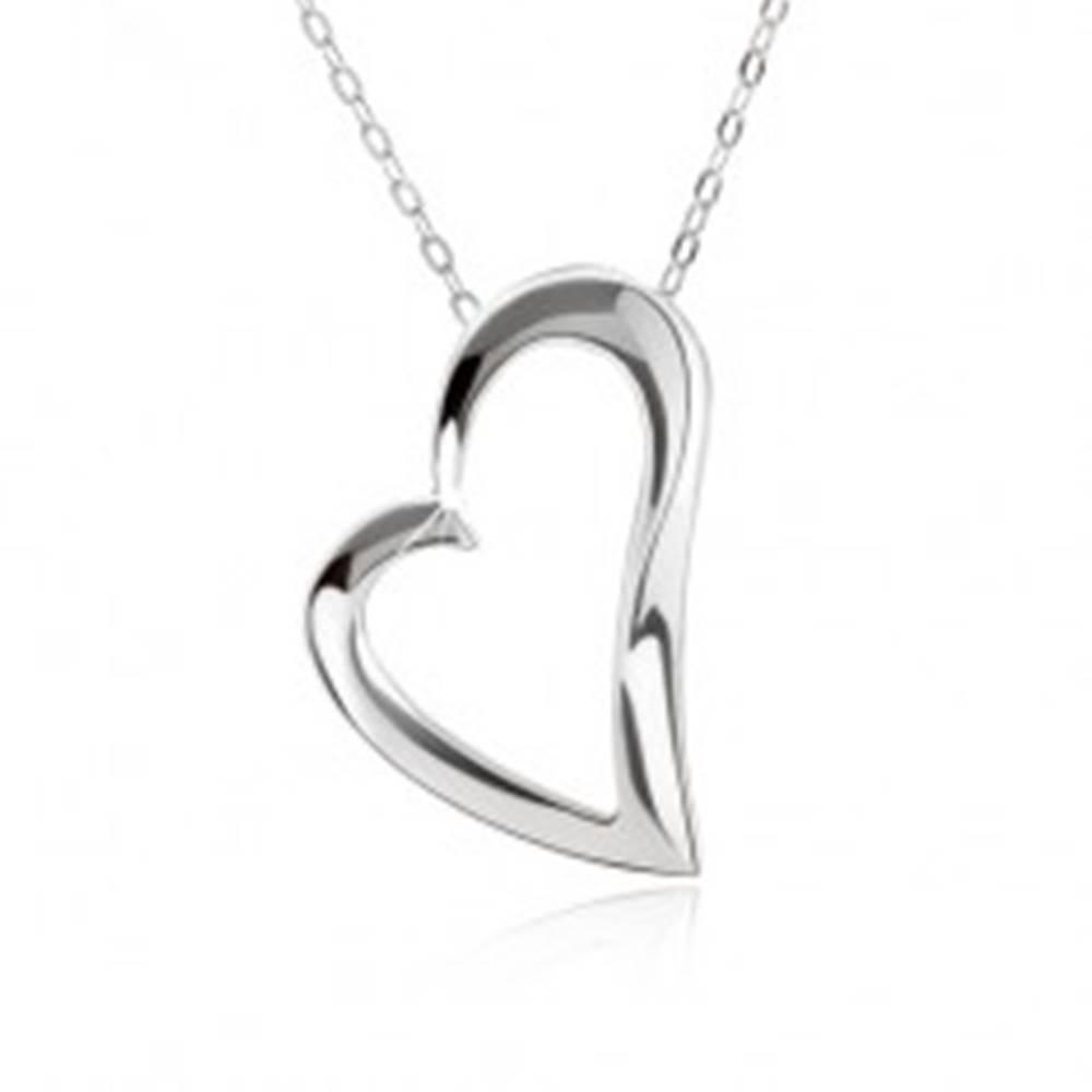 Šperky eshop Strieborný 925 náhrdelník, nastaviteľný, retiazka a kontúra asymetrického srdca