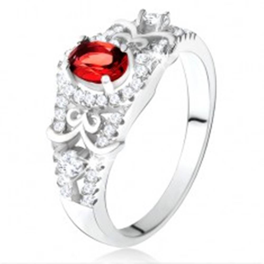 Šperky eshop Strieborný 925 prsteň, oválny červený zirkón s čírym lemom, ozdobné línie - Veľkosť: 50 mm