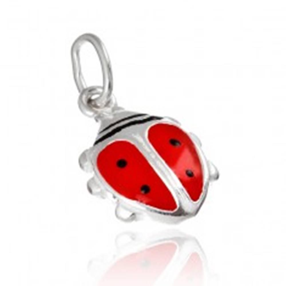 Šperky eshop Strieborný prívesok 925 - červená lienka