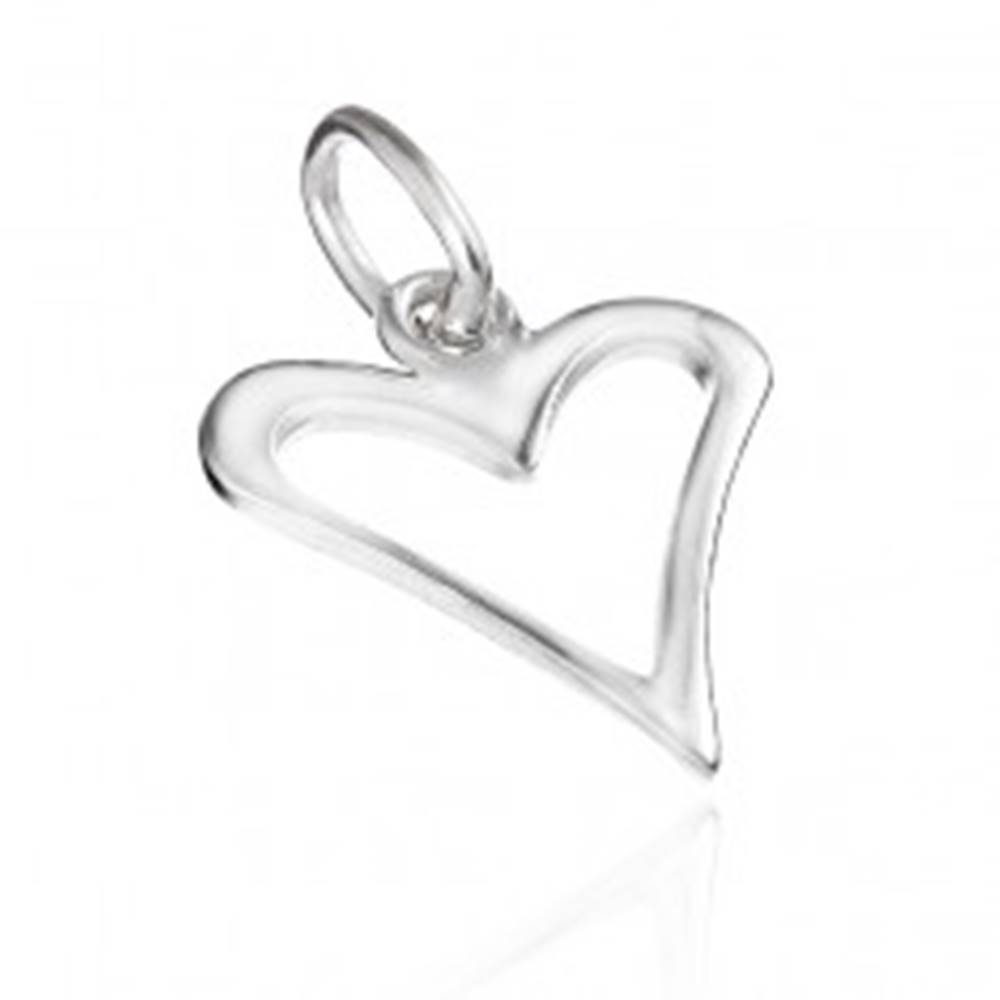 Šperky eshop Strieborný prívesok 925 - lesklý zúžený obrys srdca