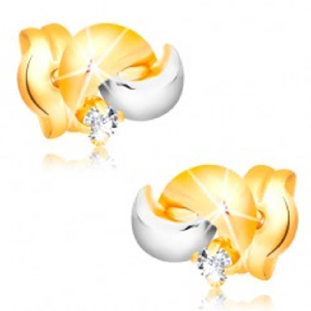 Šperky eshop Zlaté 14K náušnice s ligotavým diamantom, dvojfarebné oblúčiky, puzetky