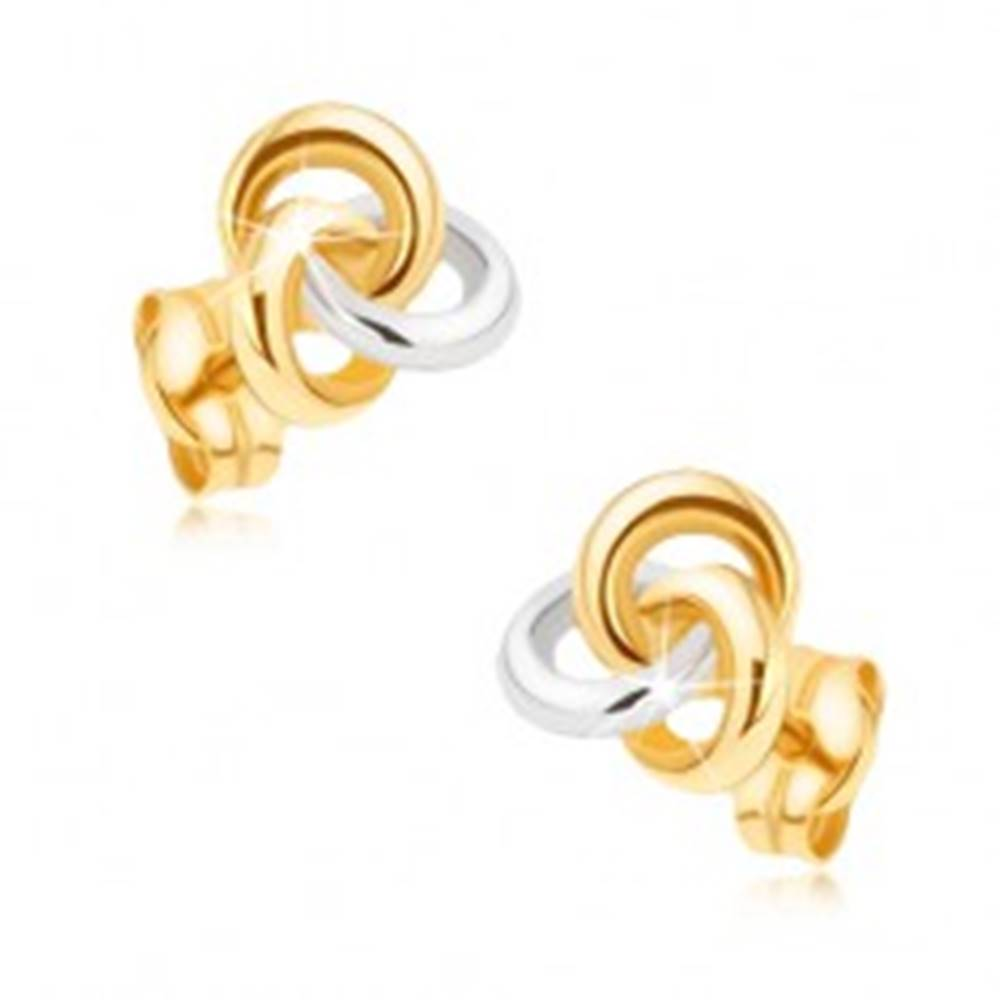 Šperky eshop Zlaté ródiované náušnice 375 - dvojfarebný uzol z troch obručí